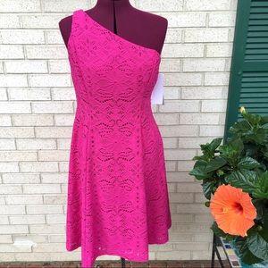 NWT London Times Pink Eyelet One Shoulder Dress
